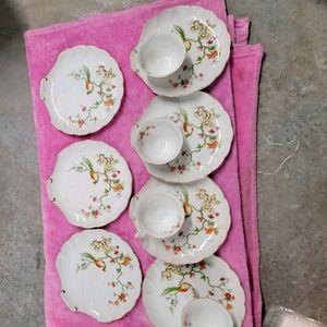 Vintage lefton china hand painted tea/snack set